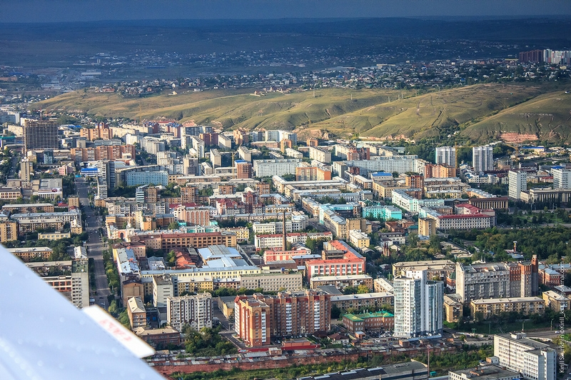Flying Over the Siberian City