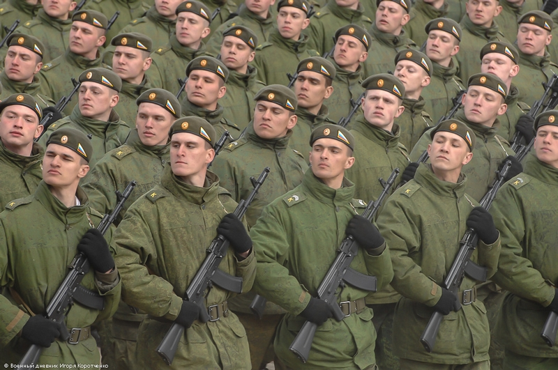 Russian Soldiers Rehearse For The Victory Parade