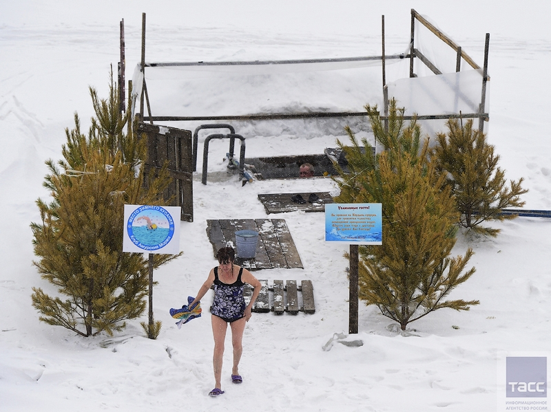 Bathhouse For Ice Swimmers on the State Line