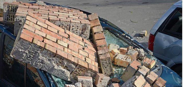 Cars Get Damaged by Falling Bricks in Brest, Belarus