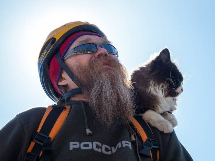 Cat And Man: Always Cycling Together