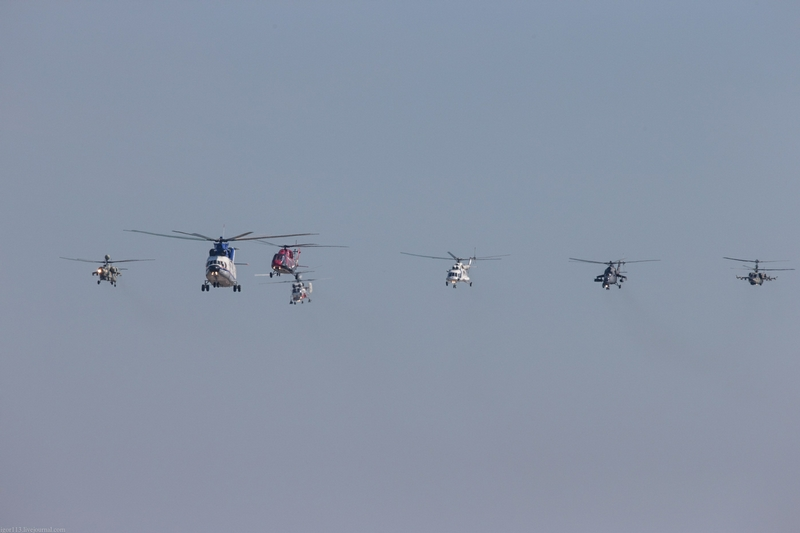 Group And Solo Flights of Russian Helicopters