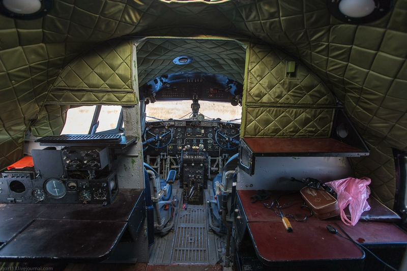 In the Cabin of the Soviet Aircraft Il 14