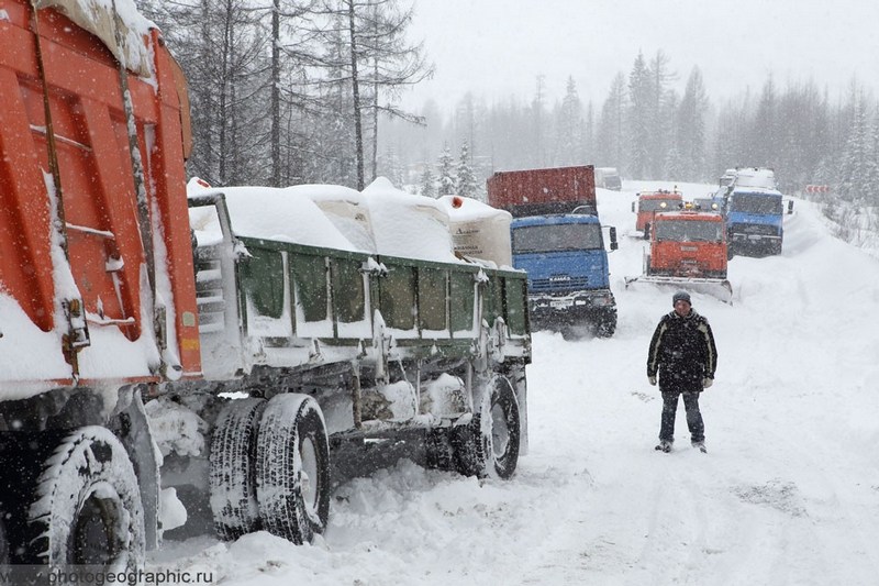 Just a Remote Russian Winter Road