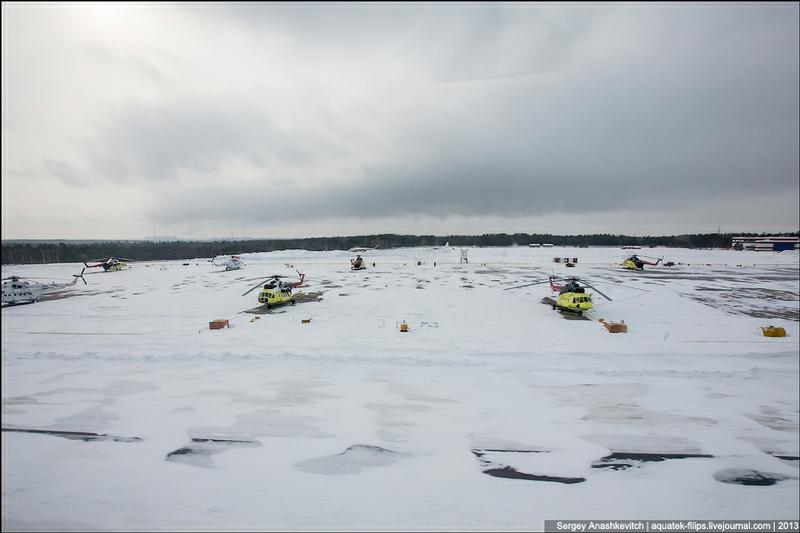 Mi 8 Flight Over the Snow Covered City