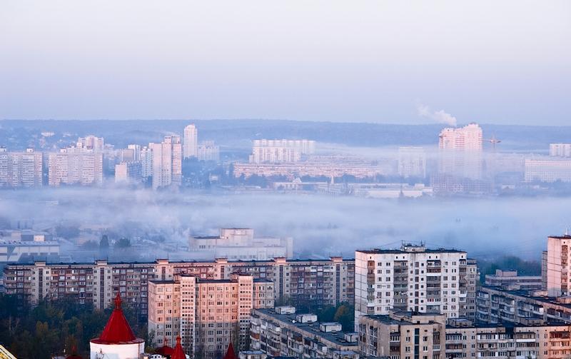 Kiev Soaked In Misty Clouds