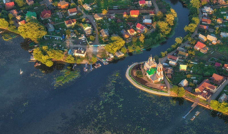 Exciting Flight Over the Ancient Russian City