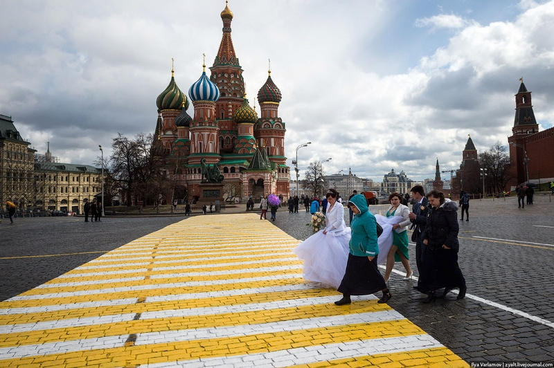 Newly Painted Crosswalk on Red Square