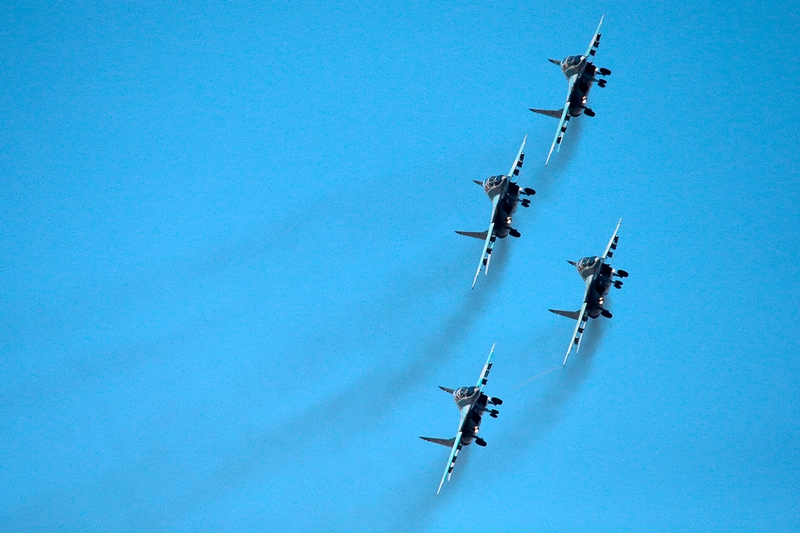 Strizhi Aerobatic Team In the Cold Winter Sky
