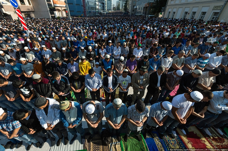 Morning Prayer of the Muslims In Moscow
