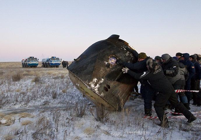The Space Capsule Lands In Kazakhstan