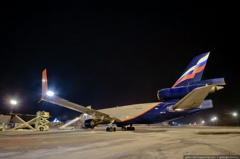A huge cargo aircraft McDonnell Douglas MD-11F of 'Aeroflot' airlines