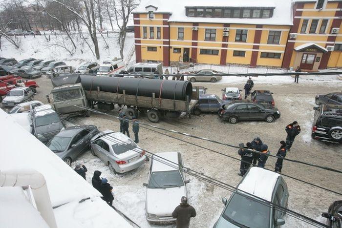 Truck Hits Nineteen Cars!