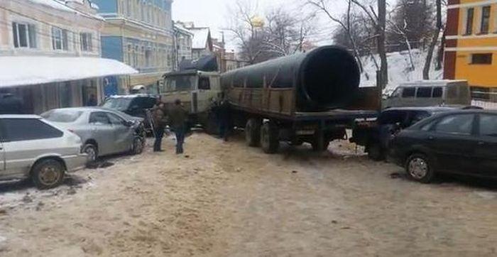 One truck hits 19 cars