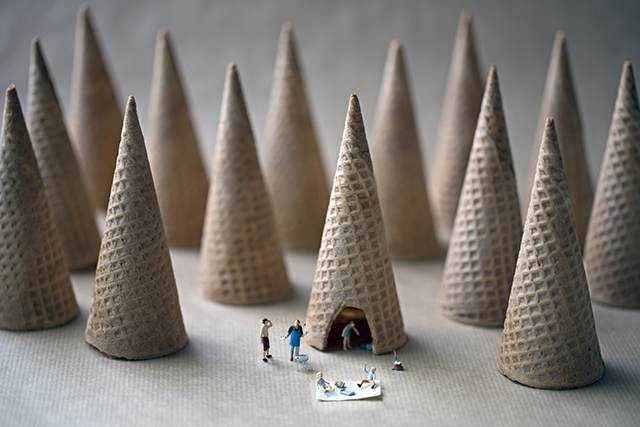 Miniature People Living in a World of Giant Food