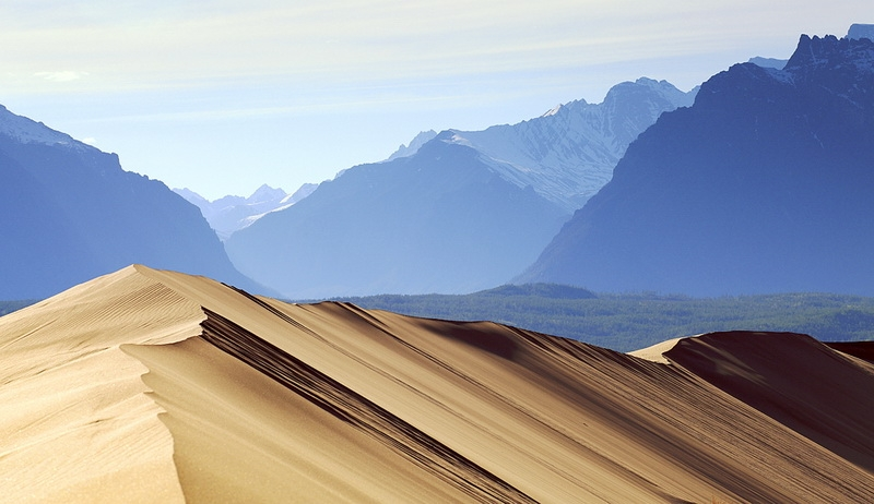 A Desert Surrounded By Icy Mountains
