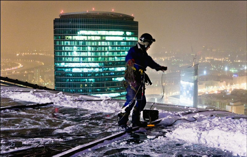 Removal Of Snow From The Roof Of The Western Federation Tower