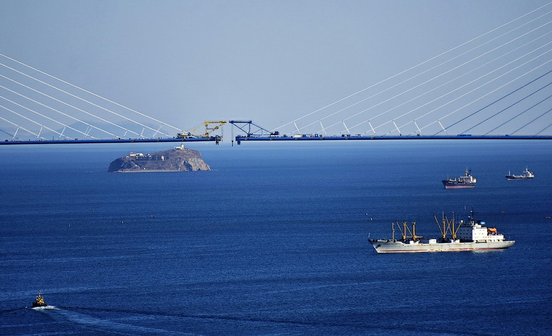 Russkiy Bridge Closes Up Over the Eastern Bosporus