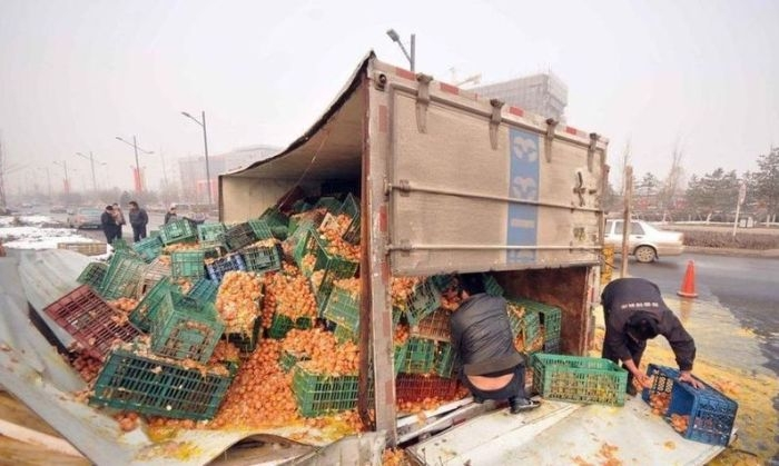 Egg Truck Crash in China