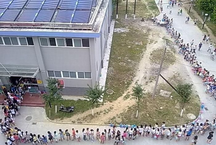 Shower Line on Chinese Campus
