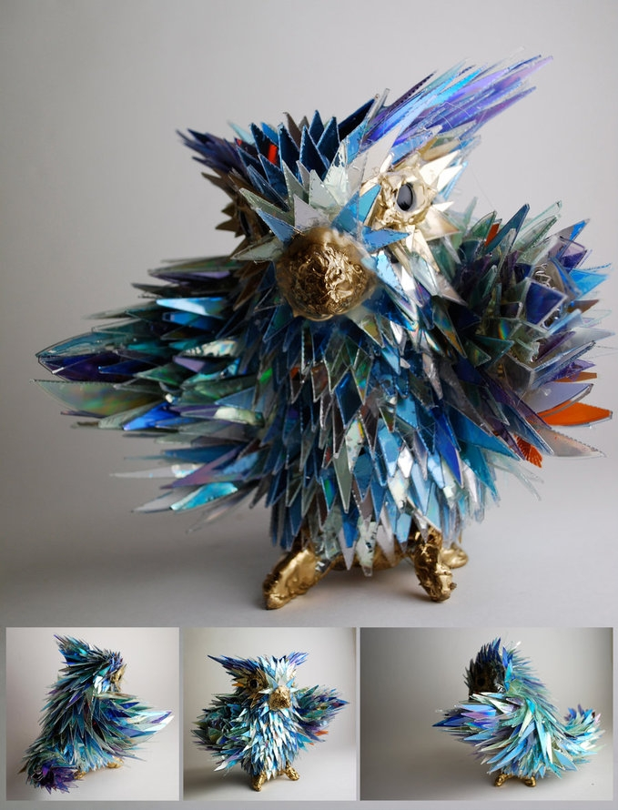 Sculptures Made of Shattered CDs