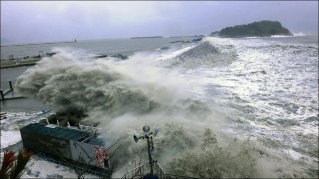 Devastating Typhoon Sanba hit South Korea