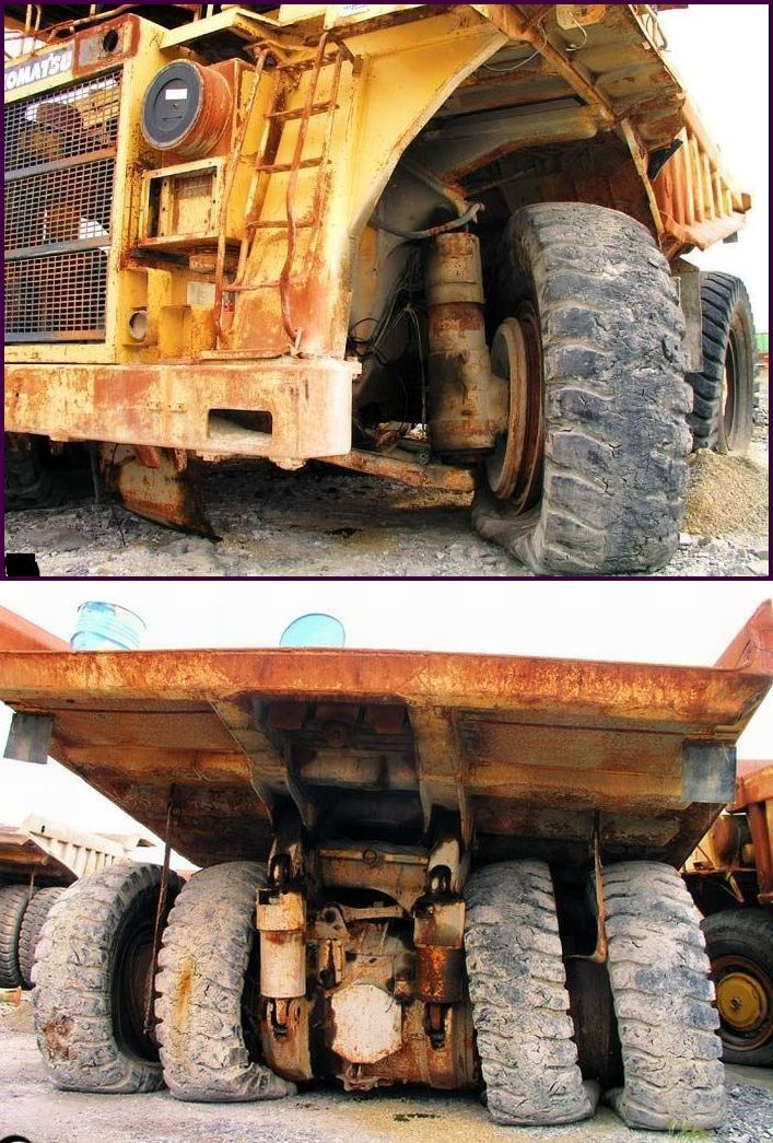 abandoned heavy trucks, komatsu, caterpilar, cat 17