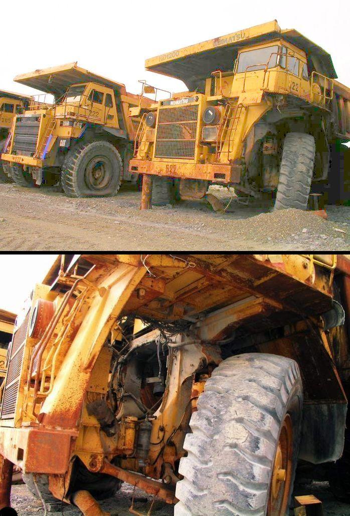 abandoned heavy trucks, komatsu, caterpilar, cat 19
