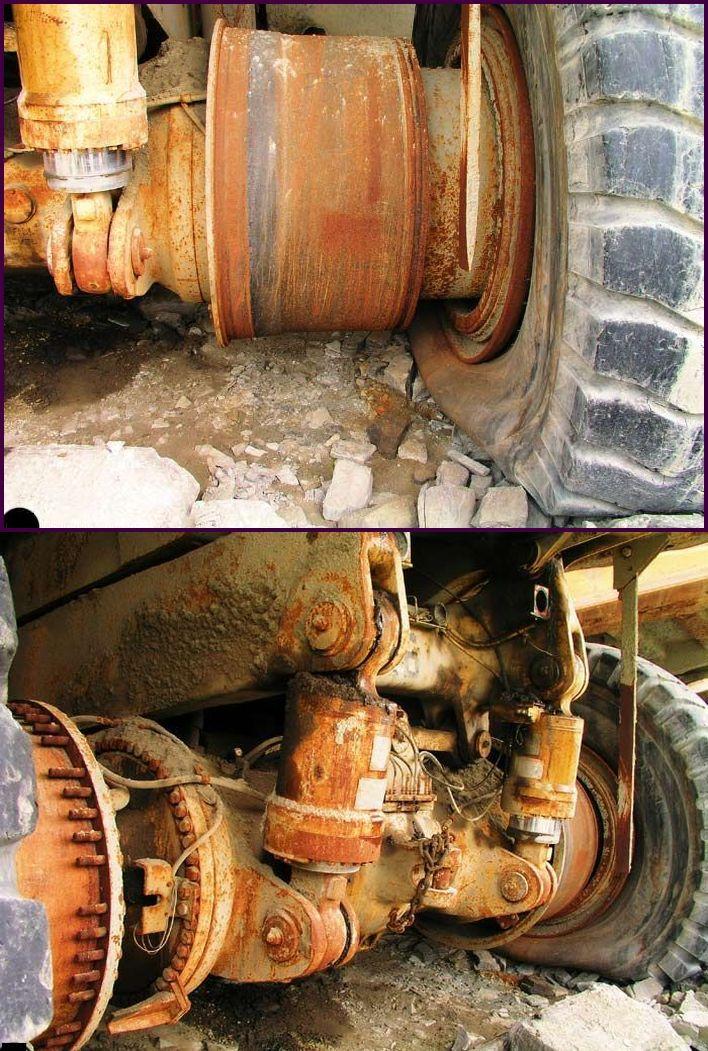 abandoned heavy trucks, komatsu, caterpilar, cat 21