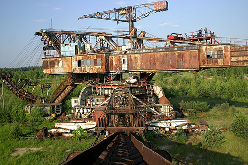 giant soviet excavation device used for exploitation of phosphorus field 8