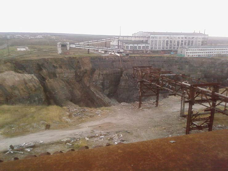 a giant hole in the land in Russian town 11