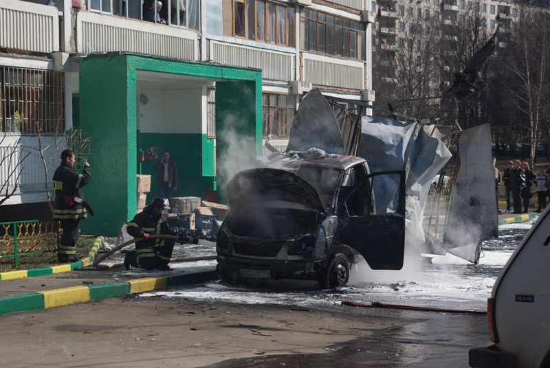 Russian lorry blown up