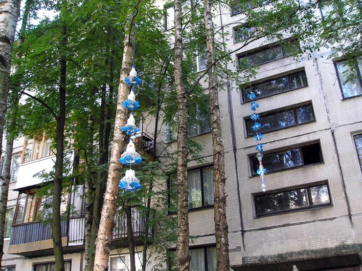 chandeliers made of plastic bottles in St. Petersburg, Russia 2