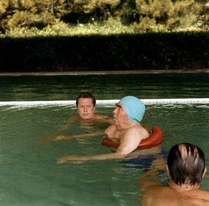 Brezhnev, Soviet leader, swimming in the pool