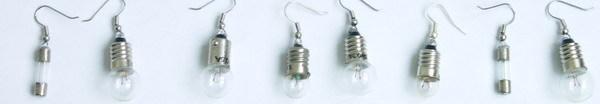 Earrings made of electric bulbs 2
