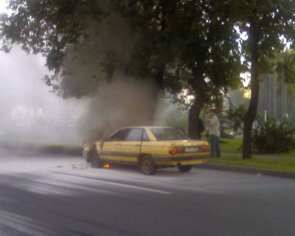 the car has burst into flames straight on the road 3