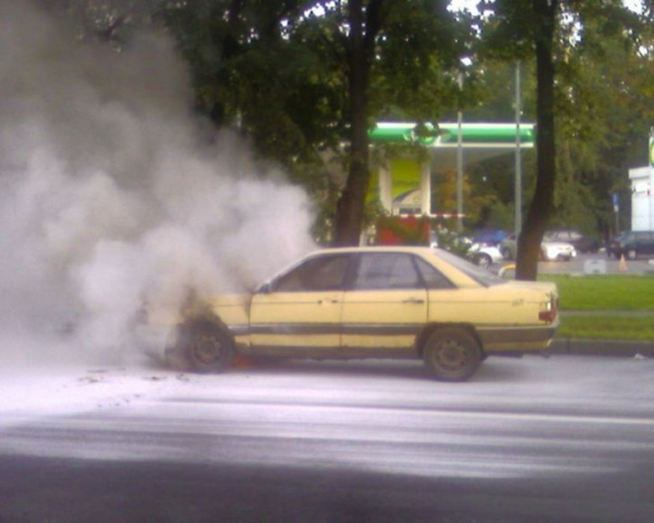 the car has burst into flames straight on the road 4