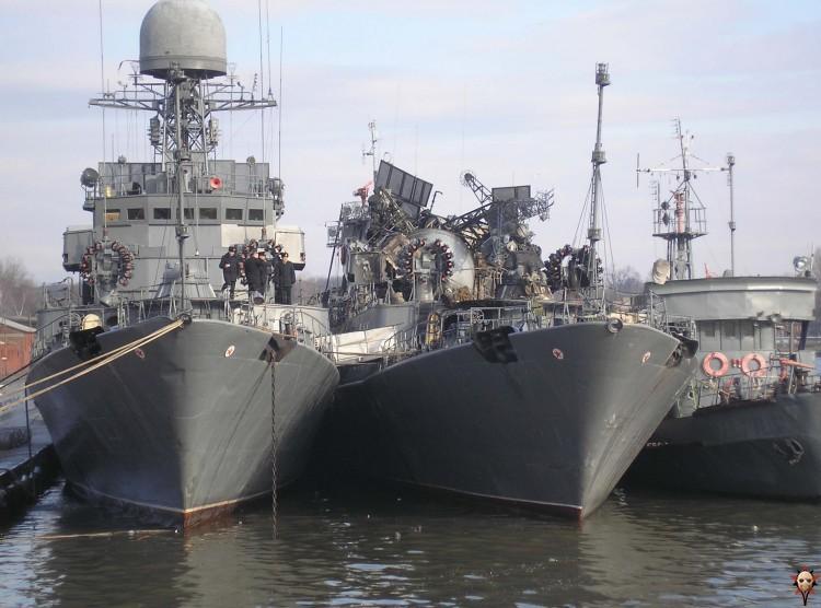 Russian ship burned down
