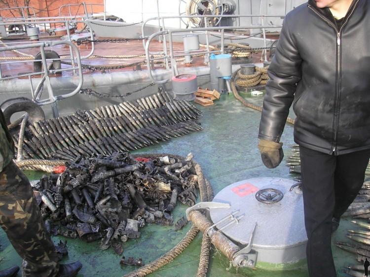 Russian ship burned down 11