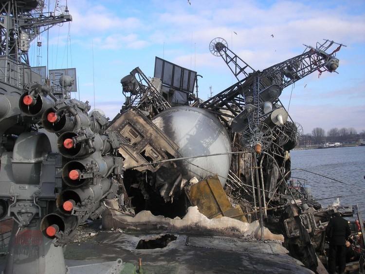 Russian ship burned down 12
