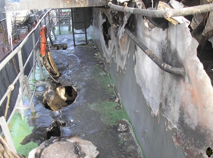 Russian ship burned down 13