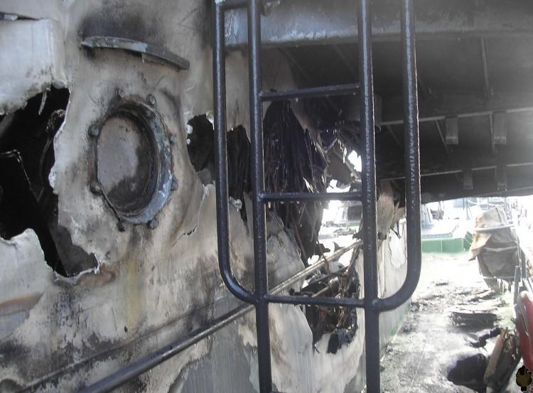 Russian ship burned down 14