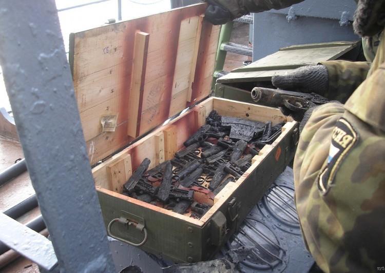Russian ship burned down 7