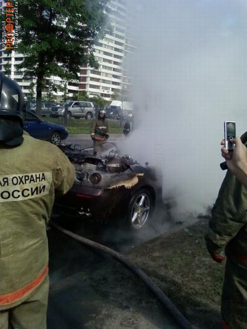 Russian ferrari got burned down