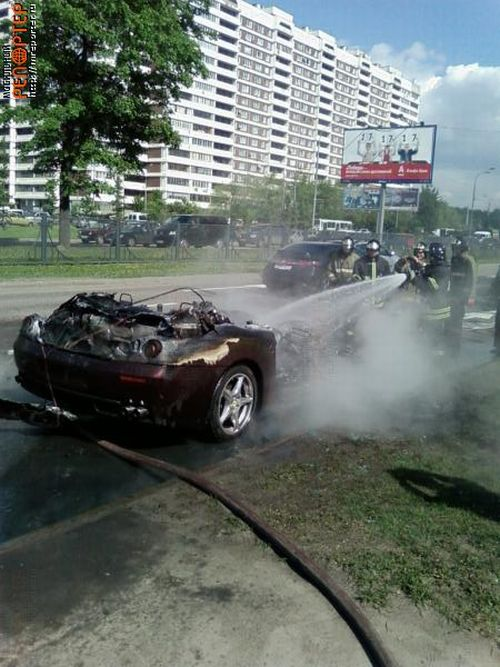Russian ferrari got burned down 4