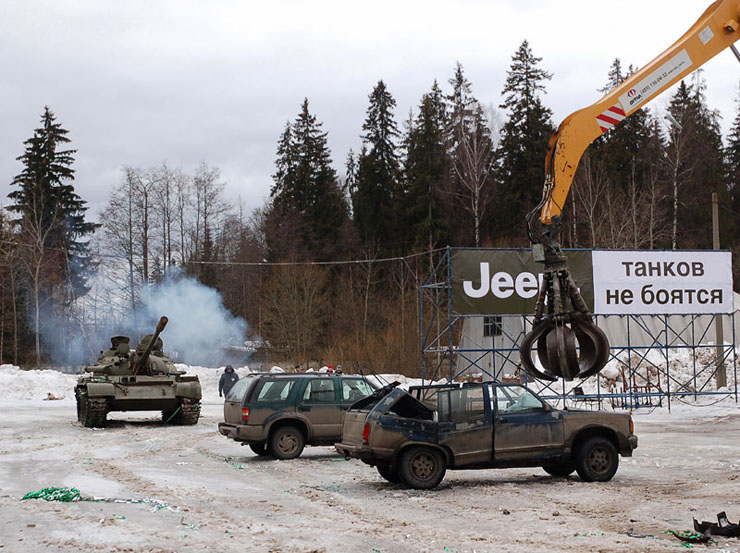 Russians smash American cars with a tank!  13