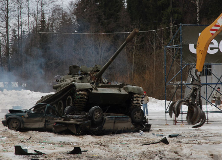 Russians smash American cars with a tank!  19