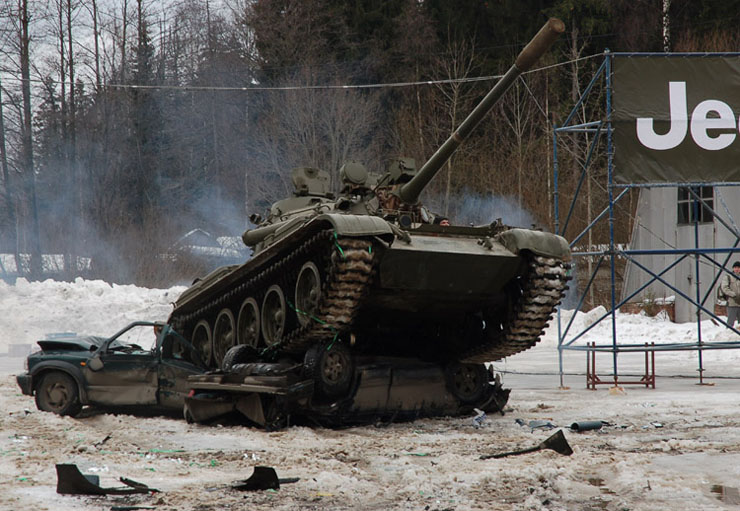 Russians smash American cars with a tank!  20