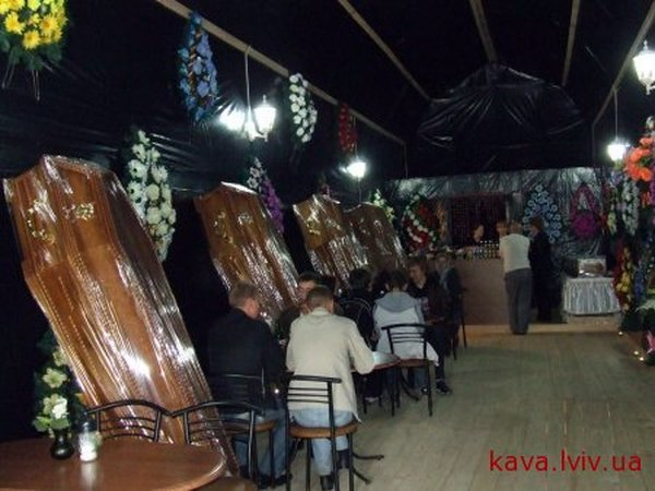 Russian coffin shaped resaurant in Ukraine 5