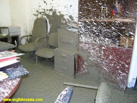 What happens if concrete mixer vehicle smashes into office room